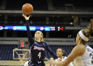 Courtesy of Athletic Department - Freshman guard Chassidy Omogrosso shoots a floater against the University of Pittsburgh.