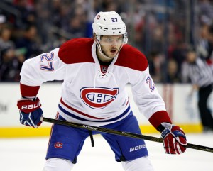 Montreal Canadiens' Alex Galchenyuk is seen against the Columbus Blue Jackets during an NHL hockey game in Columbus, Ohio, Monday, Jan. 25, 2016. The Blue Jackets won 5-2. (AP Photo/Paul Vernon)