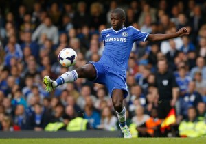 In this September 21, 2013 file photo, Chelsea's Ramires plays against Fulham during their English Premier League soccer match at Stamford Bridge, London. Brazil midfielder Ramires has left Chelsea as compatriot Alexandre Pato arrived in London Wednesday Jan. 27, 2016 to join up with the Premier League champions. After more than five years at Chelsea, Ramires has signed for Chinese Super League club Jiangsu Suning.
