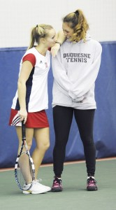 Courtesy of Duquesne Athletics Director of tennis Vanessa Steiner hangs out with junior Maddy Adams.