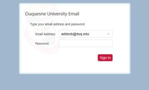 Brandon Addeo | News Editor A screenshot of the login screen for Duquesne student email, which close 12 months after graduation. Upperclassmen should use a different email for resumes.