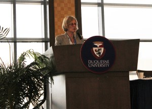 Kailey Love | Photo Editor Notre Dame theology professor Celia Deane-Drummond speaks at the Sept. 28 event.