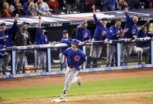 Chicago Cubs' David Ross rounds the bases after a home run against the Cleveland Indians during the sixth inning of Game 7 of the Major League Baseball World Series Wednesday, Nov. 2, 2016, in Cleveland. (AP Photo/Charlie Riedel)