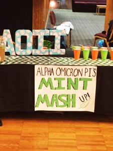 Luke Macios   Contributor Alpha Omicron Pi's table at the Mocktail competition during the annual Alcohol Awareness Week.