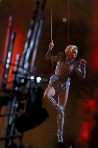 AP Photo Gaga's performance prominitely featured mid-air singing and 300 drones in the shape of the American flag.