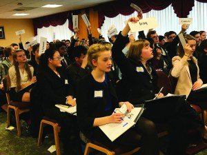 Courtesy of the Office of Marketing and Communications High school students participate in the Model United Nations mock conferences Jan. 27. The top three student delegates split a $6,000 purse of scholarship money.