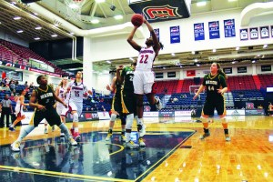 Bry McDermott   Asst. Photo Editor   Duquesne sophomore guard Conor Richardson goes up for a layup against George Mason in the first round of the 2017 Atlantic 10 Women's Basketball tournament at the A.J. Palumbo Center.