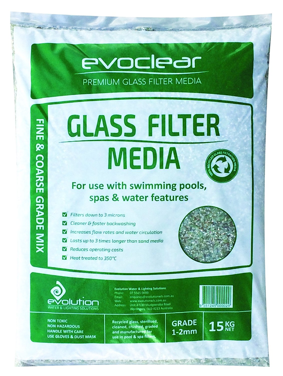 15kg bag of swimming pool filter sand replacement recycled glass media