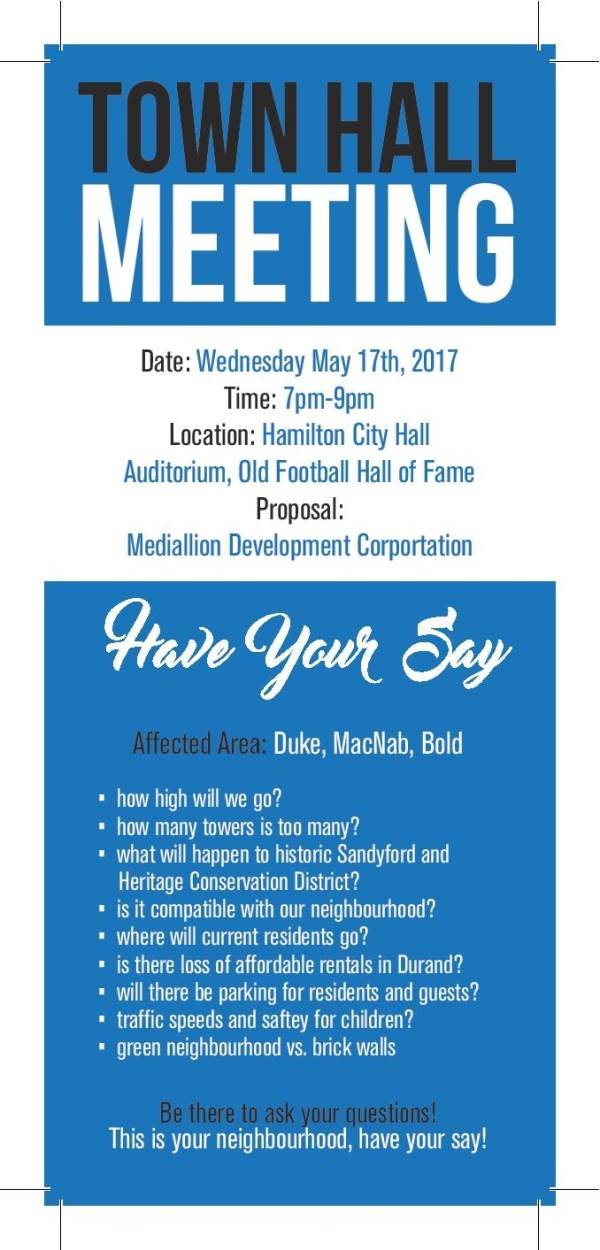 Reminder - Town Hall on May 17 - Durand Neighbourhood ...