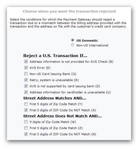 Durango Payment Gateway AVS