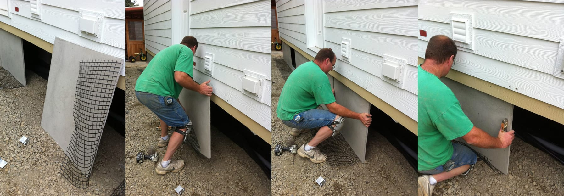 DURASKIRT-INSTALL-SKIRTING-FRONT Cement Board For Mobile Home Skirting on cement foundation mobile home, metal roof on mobile home, cement porches manufactured home, 1993 champion mobile home, painting wallboard in mobile home, front steps for mobile home, brick underpinning for mobile home, stucco mobile home, covered porch designs mobile home, vapor barrier under mobile home, cement siding panels, cocheco park mobile home, cheap underpinning for mobile home, cement skirting mobile home kit, cement skirting for homes, helical pier foundation mobile home, chimney installation mobile home,