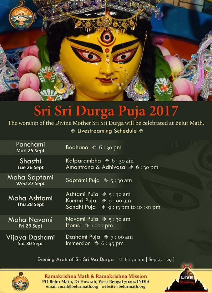 Belur Math Durga Puja Schedules