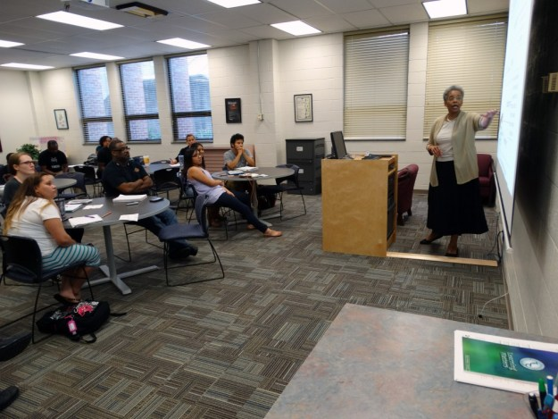 Dr. Saundra McGuire, a retired chemistry professor and learning center director at Louisiana State University, speaks at a presentation to Durham Tech students on October 12.