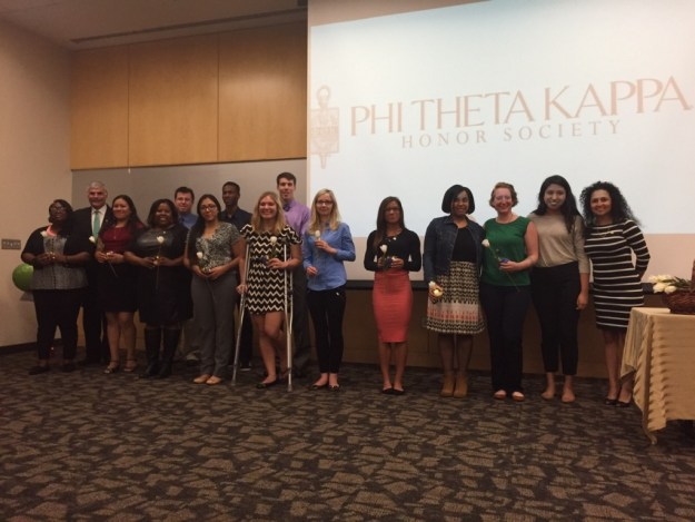 The Phi Theta Kappa Honor Society welcomes its newest members during an induction ceremony on Thursday.