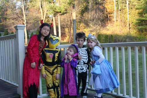 Showing off their costumes