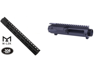 ".308 Upper Combo – Stripped Billet Upper Receiver (GEN 2) & 15"" Ultra Lightweight Thin M-LOK Free Floating Handguard w/ Monolithic Top Rail"