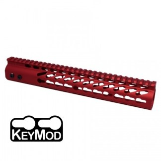 "American Made 12"" Ultra Lightweight Thin Keymod Free Floating Handguard with Monolithic Top Rail (Red)"