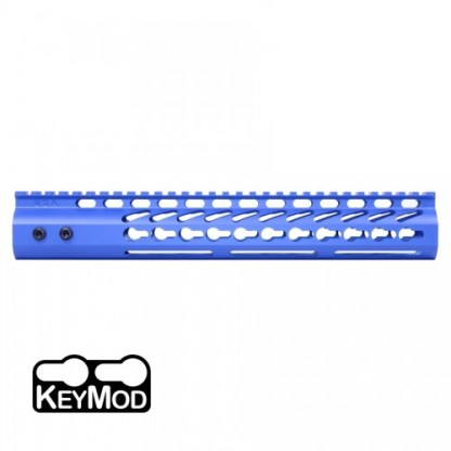 """American Made 12"""" Ultra Lightweight Thin Keymod Free Floating Handguard with Monolithic Top Rail (Blue)"""