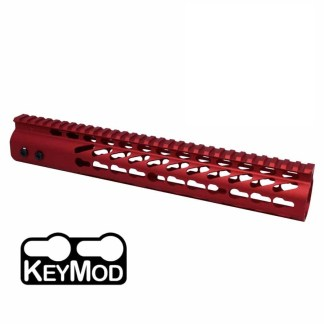 12″ ULTRA LIGHTWEIGHT THIN KEYMOD FREE FLOATING HANDGUARD WITH MONOLITHIC TOP RAIL(RED)