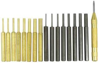 AR15 AR-15 M4 M16 Gun Rifle 18pc Gunsmithing Steel Pin Punch Tool Set Kit 8pc Brass & Steel Punches + Spring Loaded Center Punch