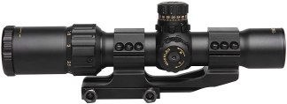 Sniper NT1-4X28 GL Rifle Scope, Glass Reticle, R:G Illumination, Ring Mounts and Flip Cap Included