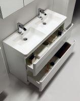 Möbel Bad, Doppelwaschbecken , 120 cm, helle, weiße, auf ...