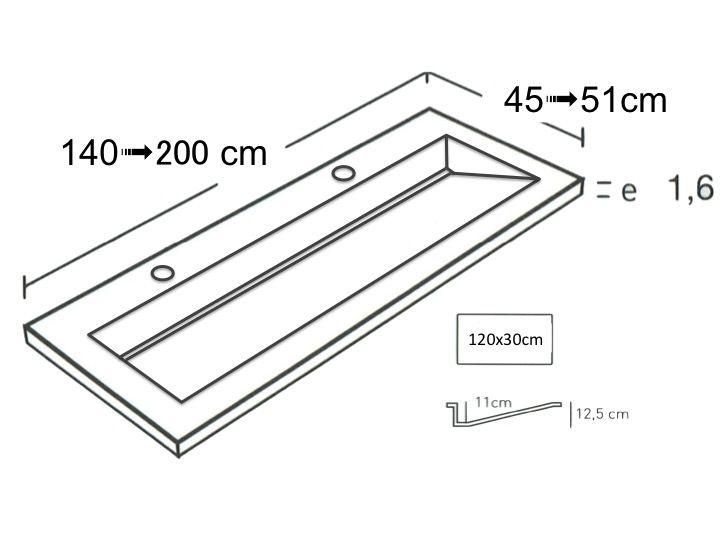 Doppelwaschtischplatte 161 X 46 Cm Kanalwaschbecken Cosmo Sf 120