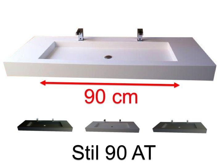 Doppelwaschtischplatte 50 X 100 Cm Hangend Oder Versenkt Aus Mineralharz Stil 90 At