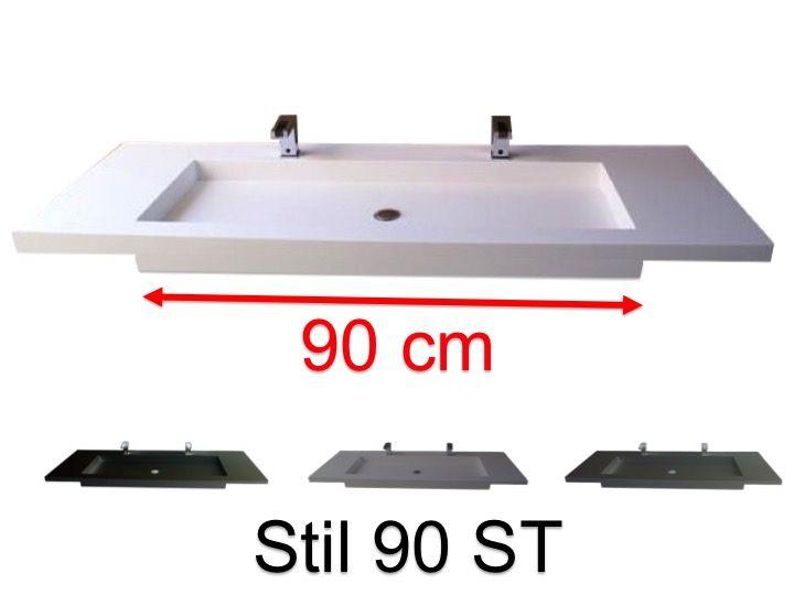 Doppelwaschtischplatte 50 X 110 Cm Hangend Oder Versenkt Aus Mineralharz Stil 90 St