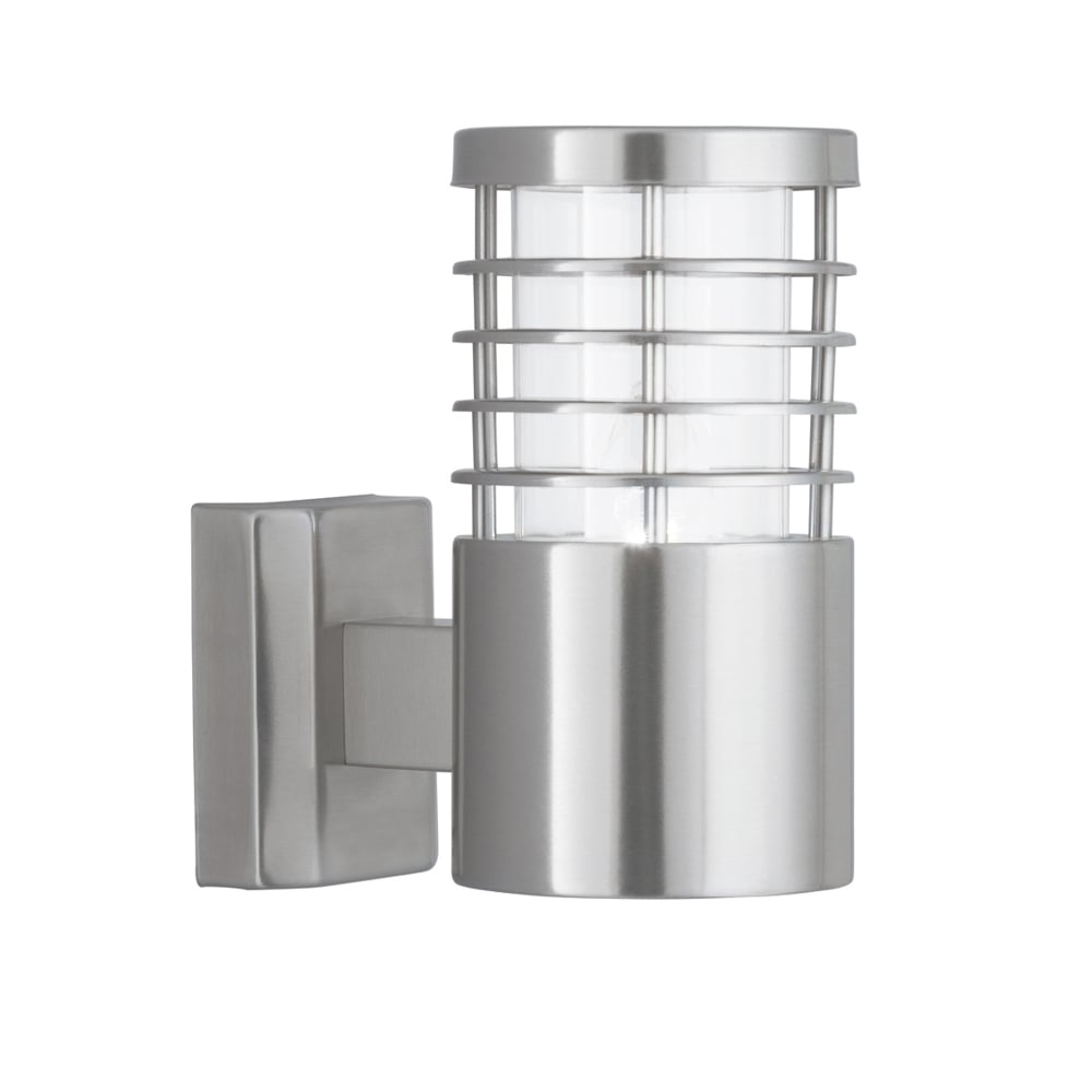searchlight contemporary outdoor wall light in satin silver finish