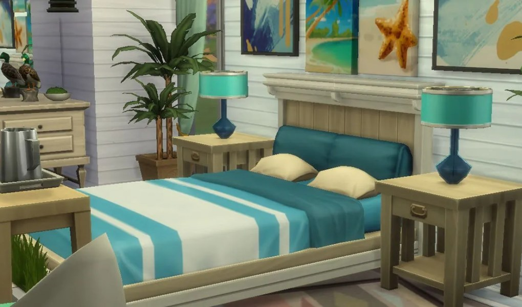 Sims 4 Seaside Themed Master Bedroom