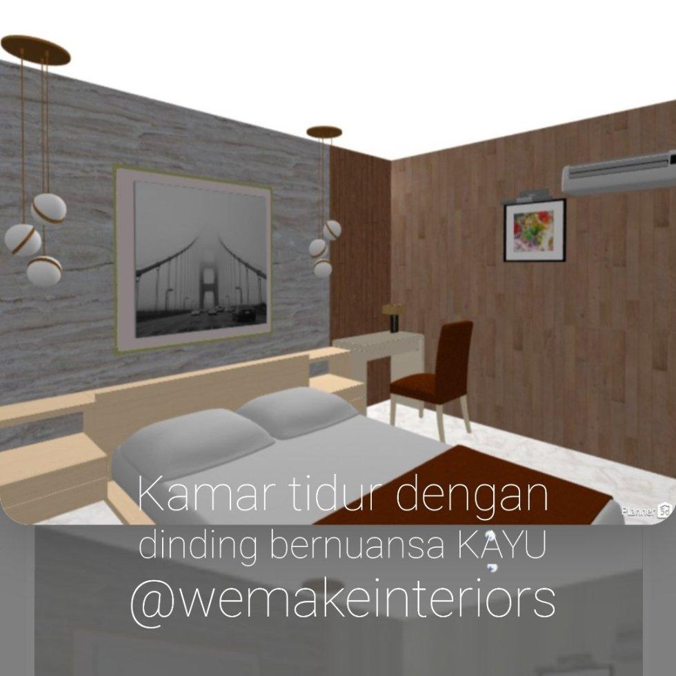 kamar tidur dengan nuansa kayu
