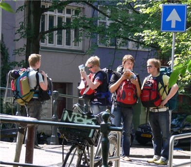 Amsterdam tourists looking for information and direction