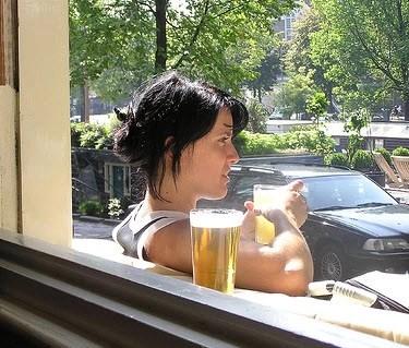 Girl outside Cafe; Tabac