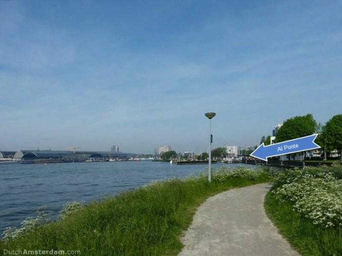 Noordwal, Amsterdam, promenade along the river IJ