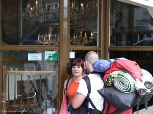 Tourists outside an Amsterdam coffeeshop