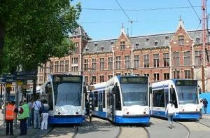 Trams at Amsterdam Central Station