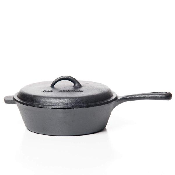 CAST IRON DEEP FRY SKILLET WITH LID 10.5X3″
