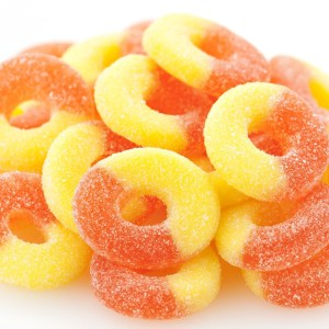 Peach Gummi Rings 1lb
