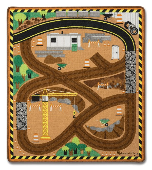 Round the Construction Zone Work Site Rug