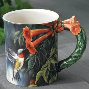 Hummingbird Sculpted Coffee Mug with Devotional Verse