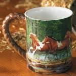 Spring Creek Run – Horses Sculpted Coffee Mug