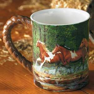 Spring Creek Run – Horses Sculpted Coffee Mug