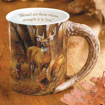 Whitetail Deer Sculpted Coffee Mug with Devotional Verse