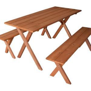 5' Cedar Table w/ 2 benches
