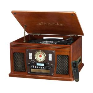 Victrola Wood 8-in-1 Nostalgic Bluetooth Record Player with USB Encoding & 3-speed Turntable