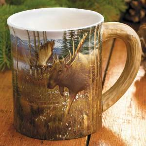 Cotton Grass Moose Sculpted Coffee Mug