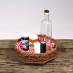 8 Corner Lazy Susan Basket Brown