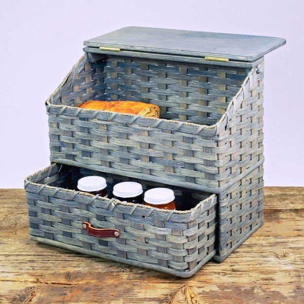 Large Bread Basket with Drawer Gray