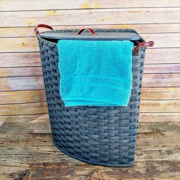 Large Corner Hamper Basket Gray